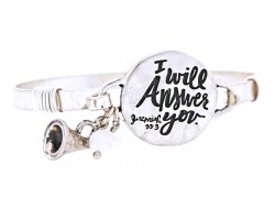 Silver I will Answer Wire Wrap Bracelet