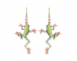 Green Frog Hook Earrings