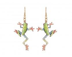 Green Frog Hook Earrings