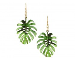 Green Tropical Leaf Hook Earrings