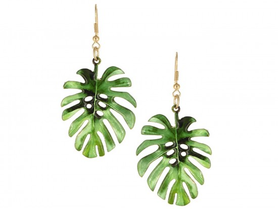 Green Tropical Leaf Hook Earrings