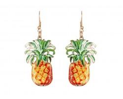 Yellow Pineapple Hook Earrings
