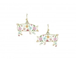 Gold Multi Pig Floral Print Hook Earrings