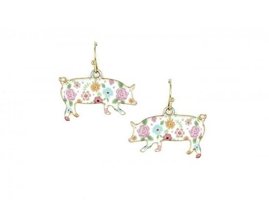 Gold Multi Pig Floral Print Hook Earrings