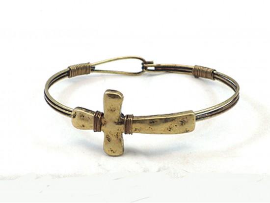 Gold Cross Wire Wrap Hook Bracelet