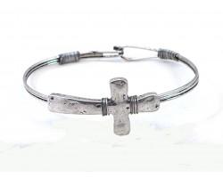 Silver Cross Wire Wrap Hook Bracelet