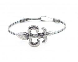 Silver Fleur De Lis Wire Wrap Hook Bracelet