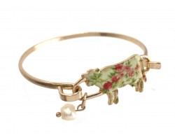 Multi Cow Floral Print Gold Hook Bracelet