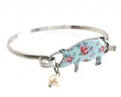 Multi Pig Floral Print Silver Hook Bracelet