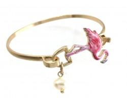 Pink Flamingo Gold Hook Bracelet