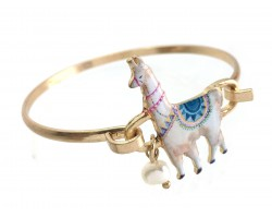 Multi Llama Gold Hook Bracelet