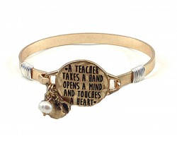 Gold Teacher Opens A Mind  Wire Wrap Bracelet