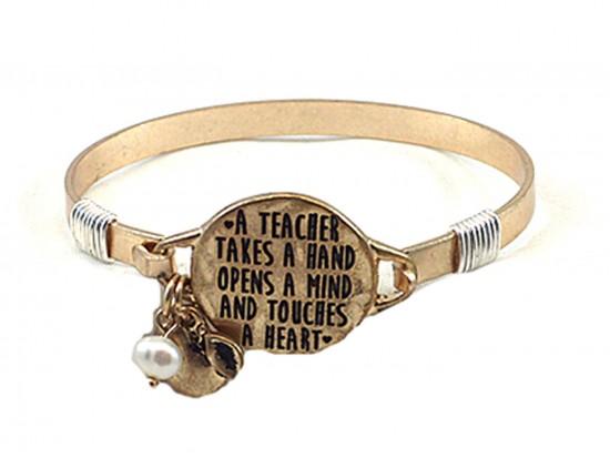Gold Teacher Opens A Mind  Wire Wrap Bracelet