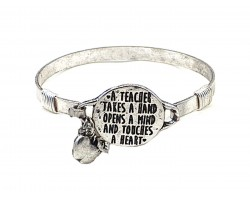 Silver Teacher Opens A Mind  Wire Wrap Bracelet