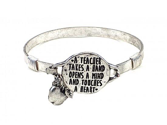 Silver Teacher Opens A Mind  Wire Wrap Bracelet
