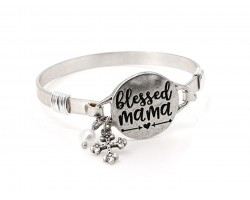 Silver Blessed Mama Wire Wrap Bracelet