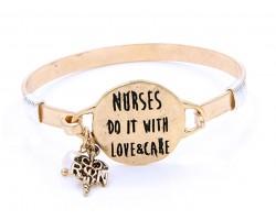 Gold Nurses Do It With Love Wire Wrap Hook Bracelet