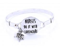 Silver Nurses Do It With Love Wire Wrap Hook Bracelet