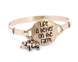 Gold Life Better on Farm Wire Wrap Bracelet