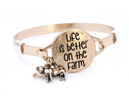 Gold Life Better on Farm Wire Wrap Bracelet