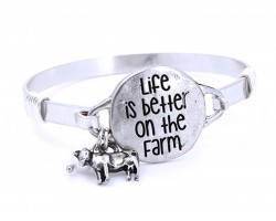 Silver Life Better on Farm Wire Wrap Bracelet