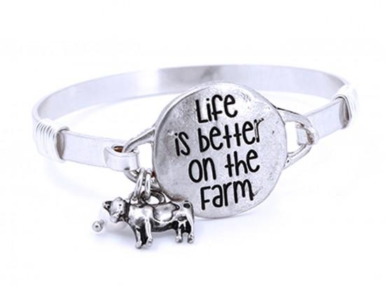 Silver Life Better on Farm Wire Wrap Bracelet
