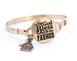 Gold God Bless The Farmer Wire Wrap Bracelet
