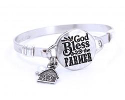 Silver God Bless The Farmer Wire Wrap Bracelet