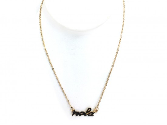Gold Black NOLA Script Necklace