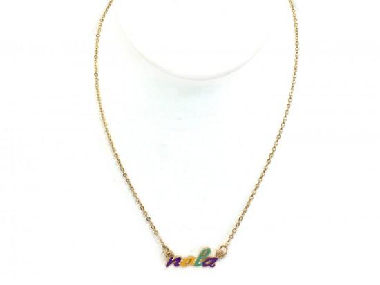 Mardi Gras NOLA Script Gold Necklace
