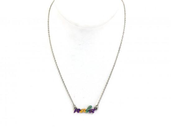 Mardi Gras NOLA Script Silver Necklace