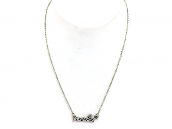 Silver NOLA Script Necklace