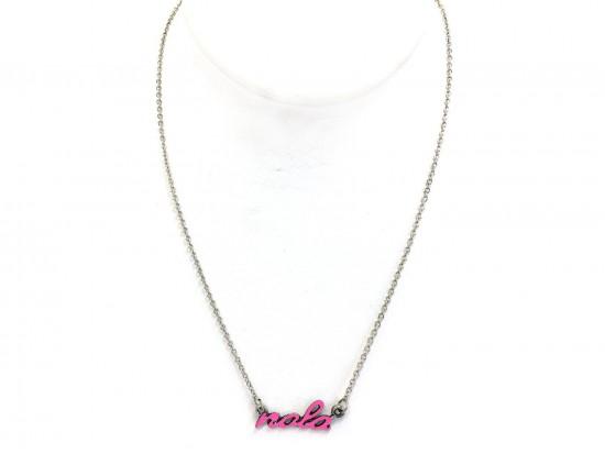 Pink NOLA Script Silver Necklace