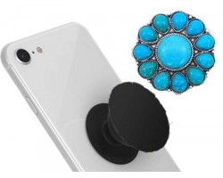 Turq Stone Sunburst Self Adhesive Phone Grip Charm