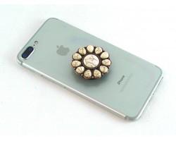White Stone Sunburst Self Adhesive Phone Grip Charm