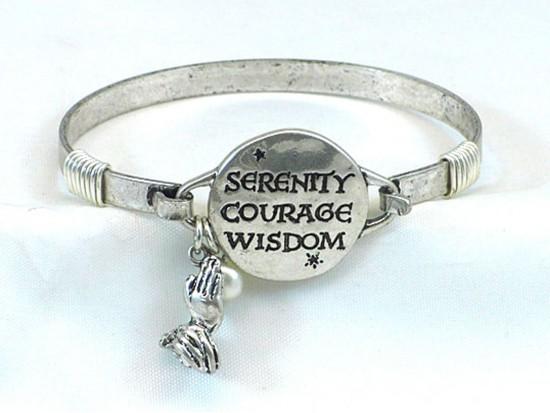 Silver Serenity Courage Wisdom Wire Bracelet