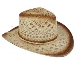 Beige Cowboy Western Hat Burnt Open Cut