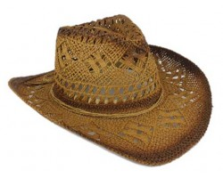 Brown Cowboy Western Hat Burnt Open Cut