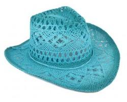 Light Blue Cowboy Western Hat Burnt Open Cut