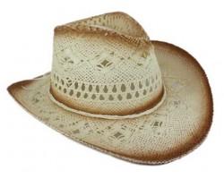 White Cowboy Western Hat Burnt Open Cut