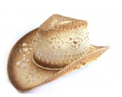 Crystal Beige Western Cowboy Hat Burnt Open Cut