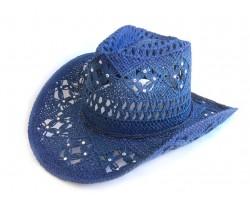 Crystal Blue Western Cowboy Hat Burnt Open Cut