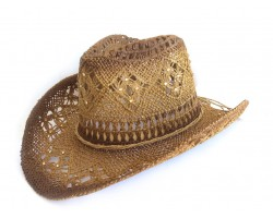 Crystal Brown Western Cowboy Hat Burnt Open Cut