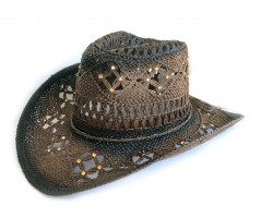 Crystal Dark Brown Cowboy Western Hat Burnt Open Cut