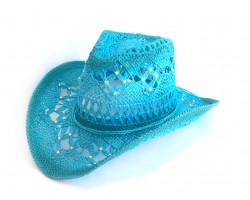 Crystal Light Blue Cowboy Western Hat Burnt Open Cut
