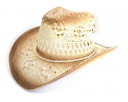 Crystal White Cowboy Western Hat Burnt Open Cut