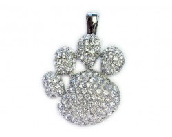 Clear Crystal Paw Print Magnetic Pendant