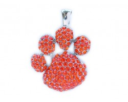 Hyacinth Crystal Paw Print Magnetic Pendant