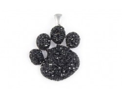 Jet Crystal Paw Print Magnetic Pendant
