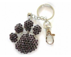 Paw Print With Amethyst Crystals Key Chain